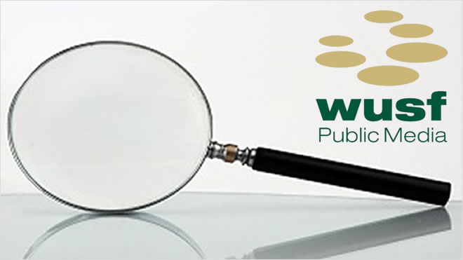 WUSF Public Media logo with a magnifying class laying on its side.