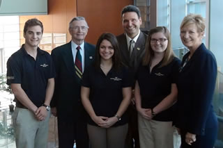 Dick Dutton, Dean Limayem, Joni Jones, & honors students