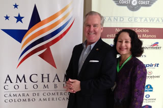 Rodriguez in Barranquilla, Colombia, with Tampa Mayor Bob Buckhorn in December 2012.