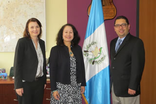 Rodriguez in Guatemala City, Guatemala, in July 2014 with Ruth Urry, US Embassy, and Mr. Sigfrido Lee, Vice Minister, Ministry of the Economy.