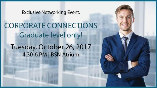 Male in a suit in office building advertising a networking event on Tuesday, October 26, 2017 from 4:30-6pm in BSN Atrium.