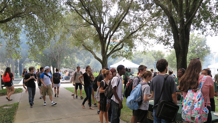 Scene from our 2015 Cookout showing students waiting in line.