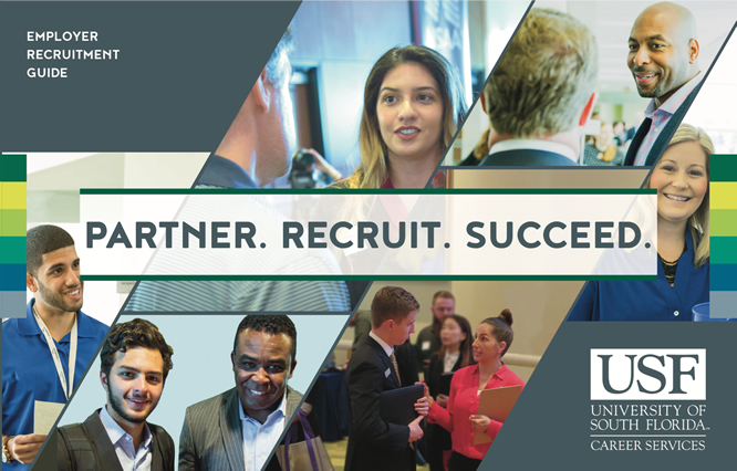 cover of the 2017 employer recruitment guide featuring pictures of students and the tag line partner recruit succeed
