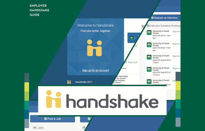 cover of the employer handshake guide featuring images of the handshake login screen and images from the system