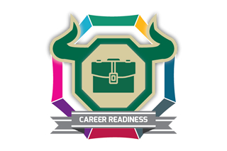 the career readiness badging progam's logo which is a stylized bull head in an octagon shape