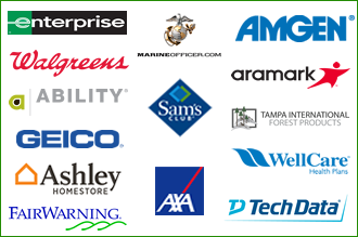 Collection of sponsor logos featuring Ability, Amgen, Aramark, Ashley, AXA, Enterprise, FairWarning, Geico, Marine Corps, Sam's Club, Tampa International Forest Products, TechData, Walgreens, WellCare Health Plans