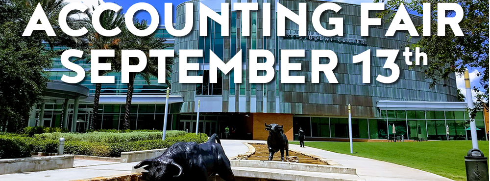 Graphic promoting the upcoming Accounting Career Fair on September 13