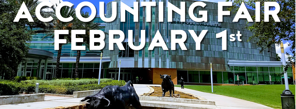 Graphic promoting the upcoming Accounting Career & Internship Fair on February 13.