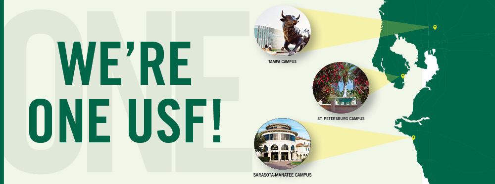 "Image of Florida, highlighting each of the three USF campuses and the text ""We're One USF!"""