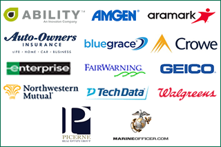 Collection of sponsor logos featuring Ability, Amgen, Aramark, Auto-Owners Insurance, BlueGrace, Crowe, Enterprise, FairWarning, Geico, Picerne Real Estate Group, Marine Corps, Northwestern Mutual, TechData, Walgreens