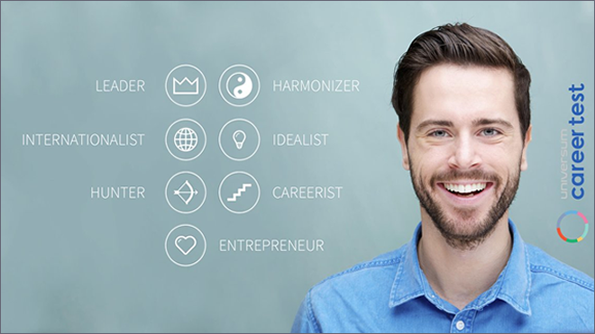 Image of man with universum's logo and the seven key areas for career satisfaction