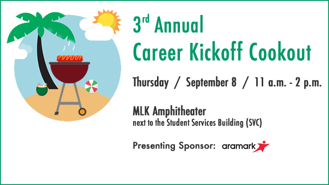 Third Annual Career Kickoff Cookout Logo.  Thursday September 8 from 11 am until 2 pm in the MLK Amphitheater.  Presenting sponsor Aramark's logo.