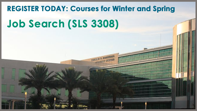 Graphic advertising the Spring 2019 and Winter 2018 Job Search course.