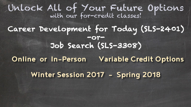 Chalkboard image with text on it describing the courses available for winter session and spring semester
