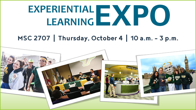 Graphic for the Experiential Learning Expo taking place on October 4 in MSC 2707 beginning at 10 a.m.