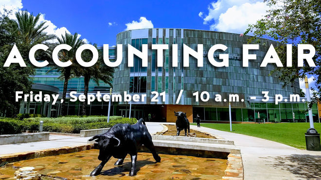 Image of the USF Marshall Student Center with the Accounting Fair name and date: Friday, September 21 from 10 a.m. until 3 p.m.