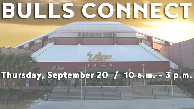 Image of the USF Sun Dome with the Bulls Connect fair name and date: Thursday, September 20 from 10 a.m. until 3 p.m.