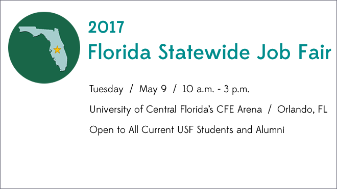 Florida Statewide Job Fair Icon, event date, time, and location information