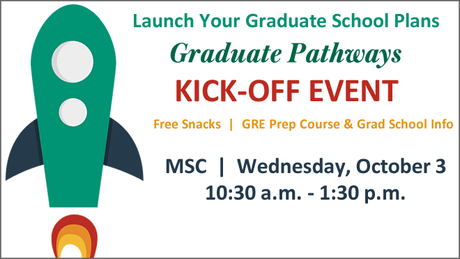 Graphic promoting the Graduate Pathways Kickoff Event on October 3 in the MSC Atrium beginning at 10 a.m.