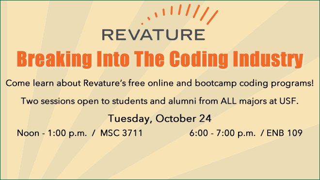 Logo of Revature and Text that reads breaking into the coding industry