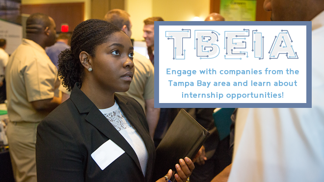 Photo of a student at a career fair, the TBEIA logo, and text announcing the mixer event