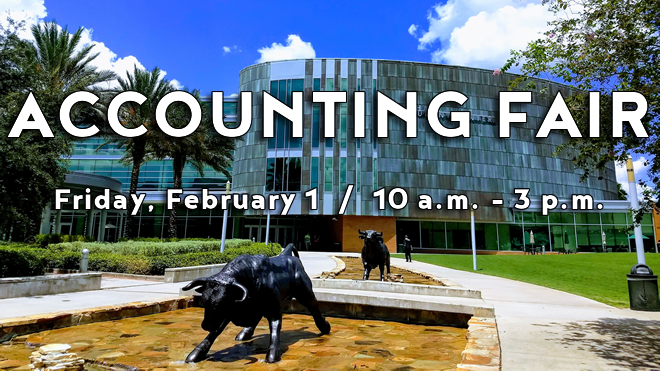 Graphic promoting the Spring 2019 Accounting Fair on February 1 in the Marshall Student Center.