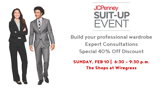 Graphic promoting the upcoming JCPenney Suit-Up Event on Sunday, February 10 at 6:30 p.m. at the Wiregrass Mall.