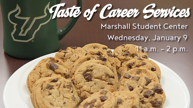 Graphic promoting the Spring 2019 Taste of Career Services event on Wednesday, January 9 at 10 a.m. in the MSC Atrium.