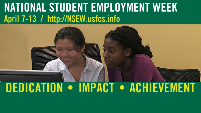 Graphic promoting the Spring 2019 National Student Employment Week