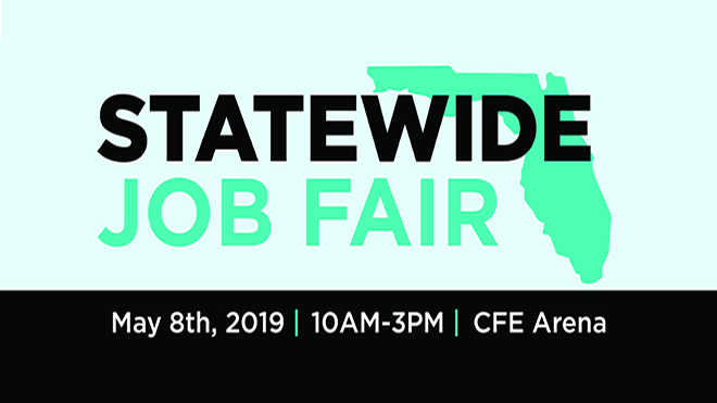 Graphic promoting the Spring 2019 Statewide Job Fair