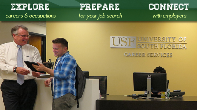 Explore careers and occupations. Prepare for your job search. Connect with employers. Photo of Career Services lobby.