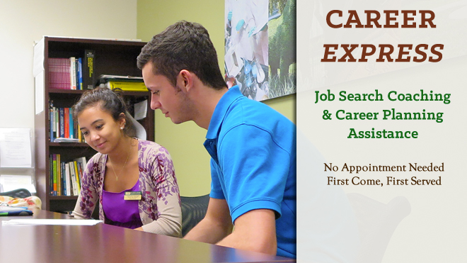 Two students at a table. Career Express: job search coaching and career planning assistance. No appointment needed. First come, first served.