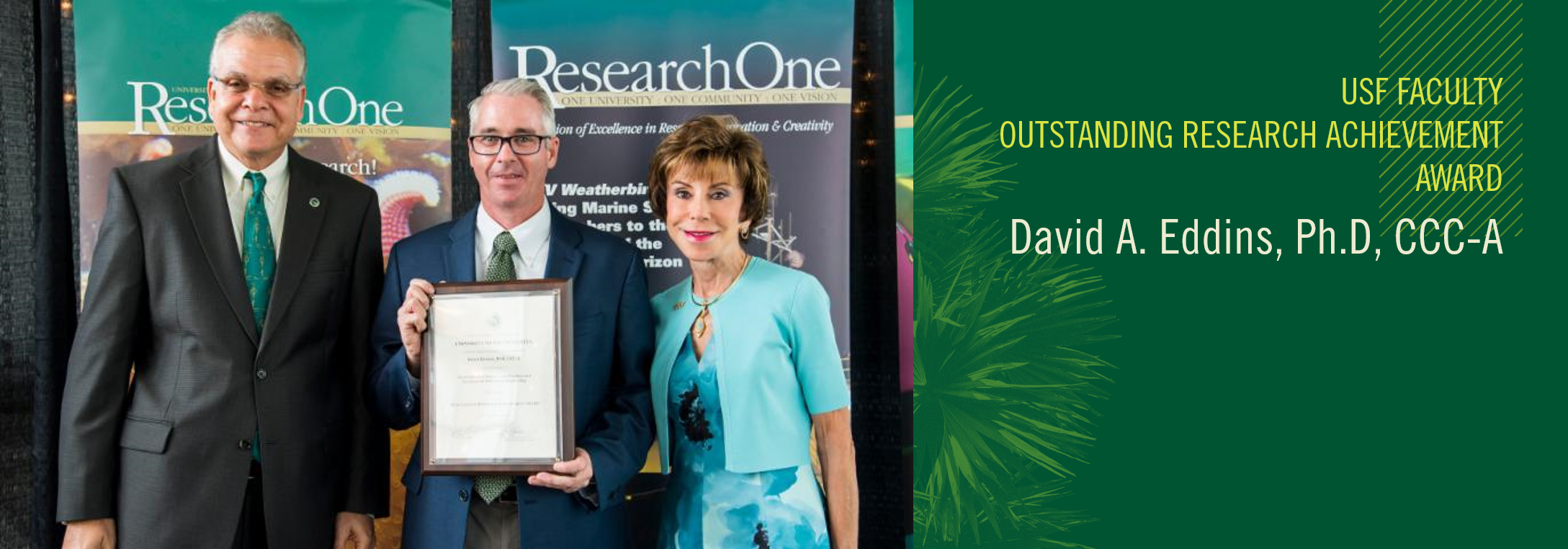 Picture of Dr. Eddins' Faculty Outstanding Research Achievement Award recipient