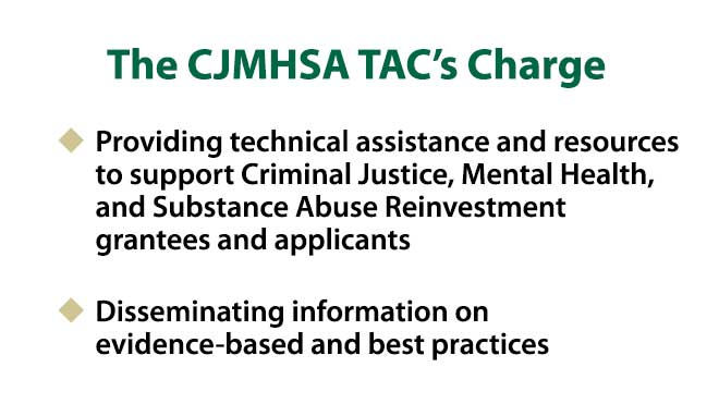 The image displays the CJMHSA TAC's Charge of (1) providing technical assistance and resources to support Criminal Justice, Mental Health, and Substance Abuse Reinvestment grantees and applicants and (2) disseminating information on evidence-based and best practices.