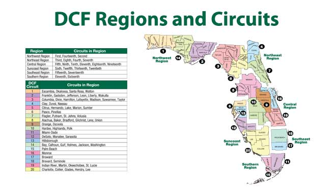 This image presents a map of Florida highlighting the Florida Department of Children and Families' regions along with Florida's judicial circuits.