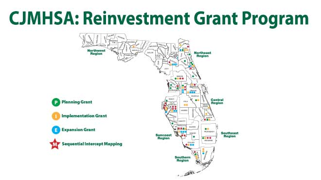 Map of Florida's 67 counties denoting counties that have had a CJMHSA Reinvestment Grant and/or Sequential Intercept Mapping conducted by the TAC.
