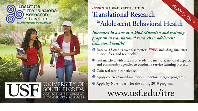 Translational Research in Adolescent Behavioral Health Funded Graduate Certificate