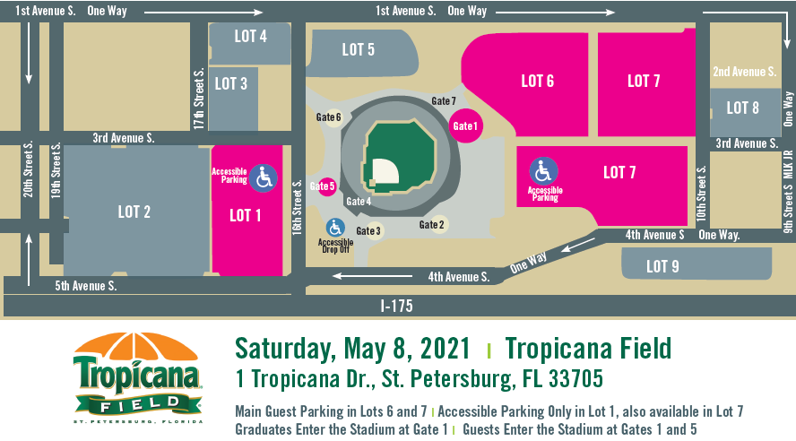 Map of guest parking for the Spring 2021 Commencement