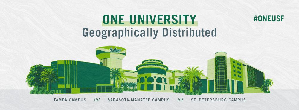 One University, Geographically Distributed: Images of Landmarks from each campus, St. Petersburg, Sarasota-Manatee, and Tampa