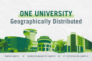 ONE USF with landmark symbols from all three campuses