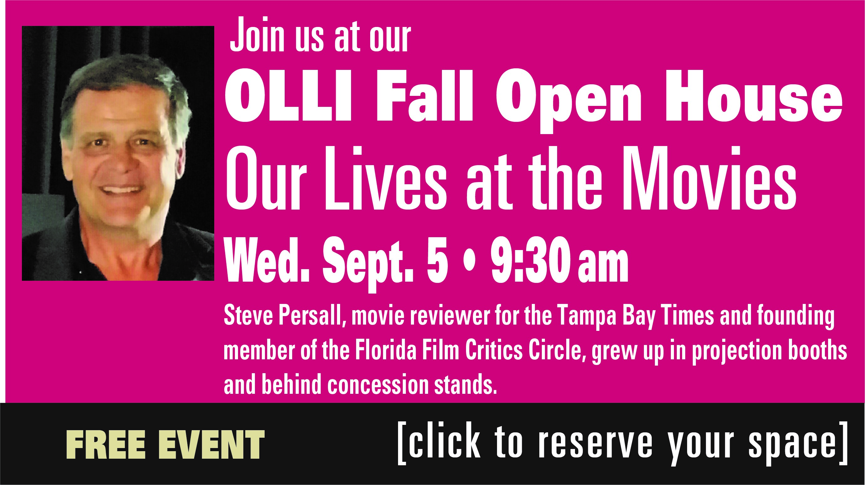 OLLI-USF Open House in Tampa, Sept. 5
