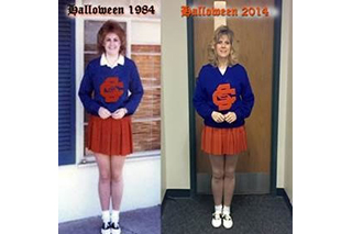 Lora Crider in same holloween cheerleading outfit 1984 vs. 2014