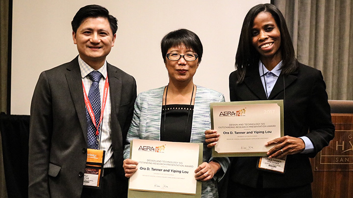 Dr. Yiping Lou and College of Education doctoral student Ora D. Tanner received the Outstanding Research Presentation Award from the AERA Design and Research Special Interest Group