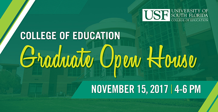 College of Education Graduate Open House on November 15, 2017 from 4-6 PM