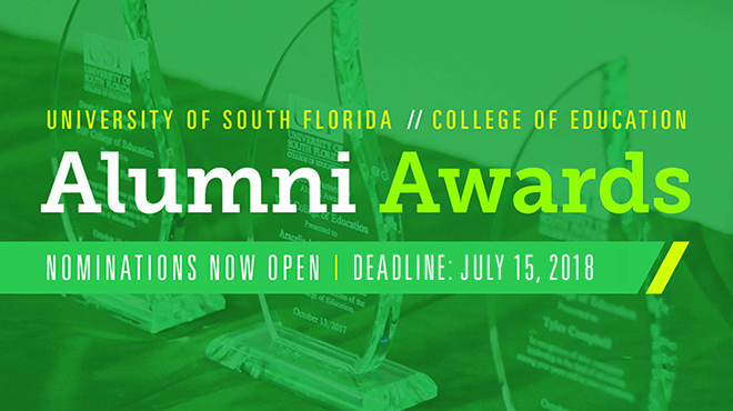 USF College of Education Alumni Awards - Nominations Open Until July 15, 2018