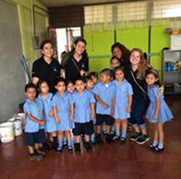 Teachers with students in Costa Rica