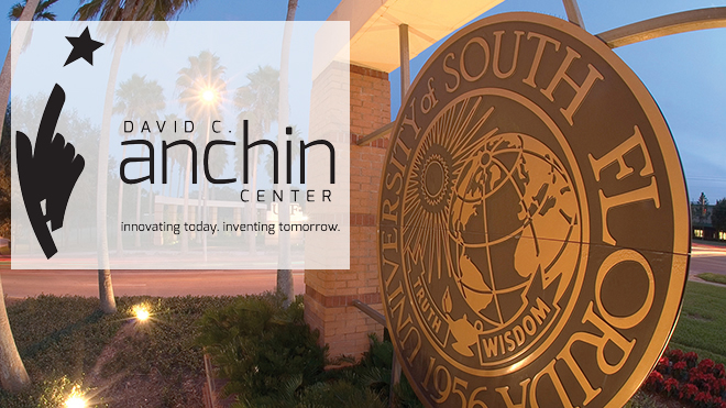 Anchin logo over picture of University of South Florida entrance gate seal.