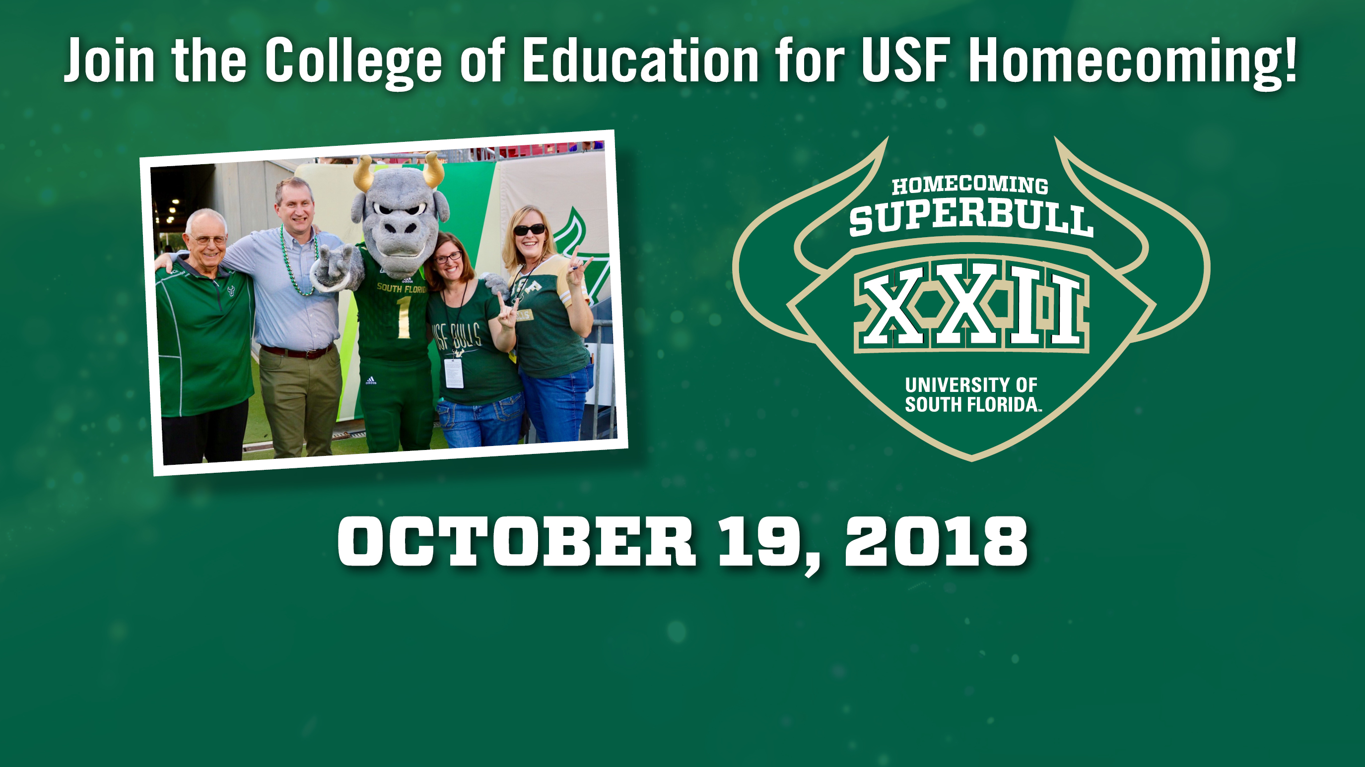 Join the College of Education for USF Homecoming on October 19, 2018