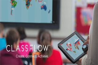 classroom & teacher using interactive technology