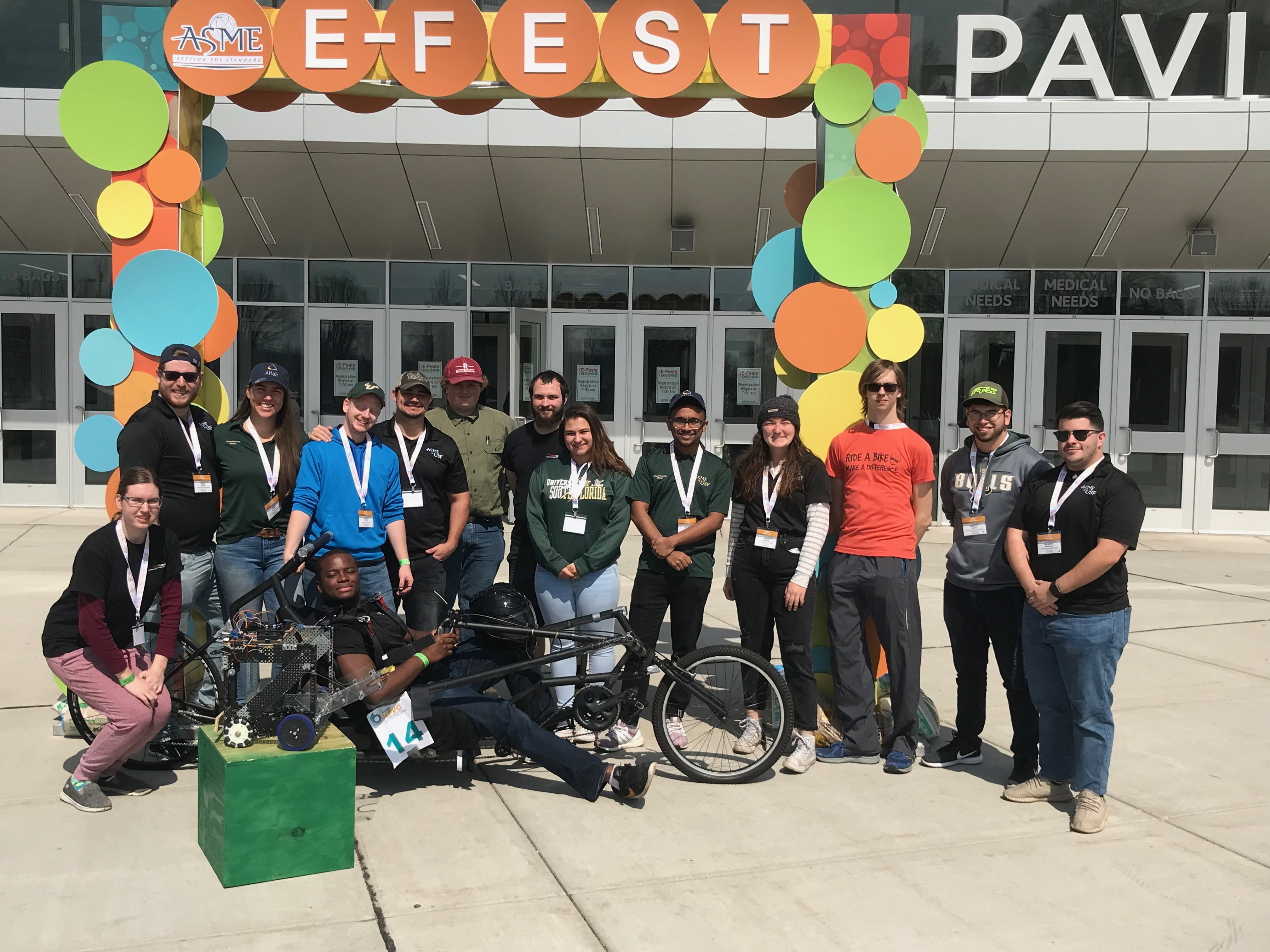 The ASME 2019 student group shows off their student design competition entries at ASME E-Fest North